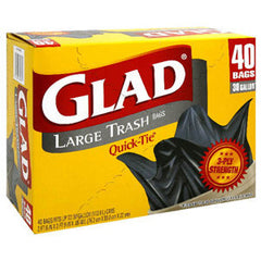 GLAD STRONG LARGE TRASH QUICK TIE BAGS - 30 GALLON