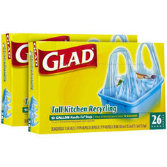 GLAD TALL KITCHEN HANDLE TIE BAGS - 13 GALLON