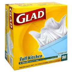 GLAD TALL KITCHEN QUICK TIE BAGS - 13 GALLON
