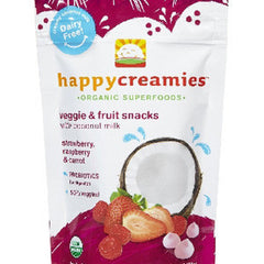HAPPY CREAMIES VEGGIE & FRUIT SNACKS - STRAWBERRY  RASPBERRY & CARROT