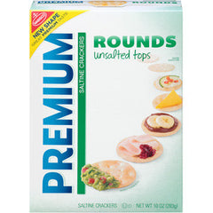NABISCO PREMIUM ROUNDS UNSALTED TOPS SALTINE CRACKERS