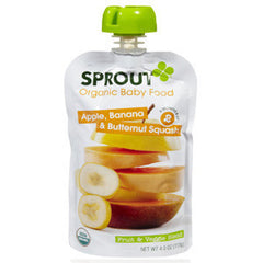 SPROUT ORGANIC APPLLE BANANA & BUTTERNUT SQUASH   BABY FOOD 6 MONTHS & UP