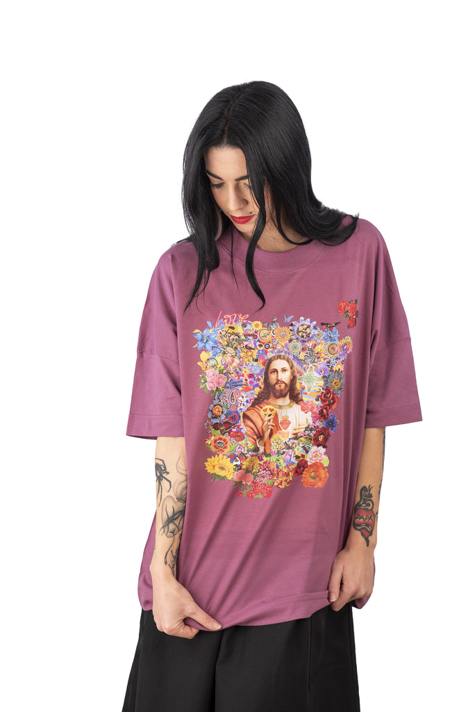 T-Shirt  Jesus Smile by Felipe Cardena for Spazzuk -Malve