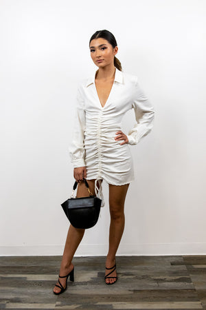 Don't Stop Here White Ruched Dress