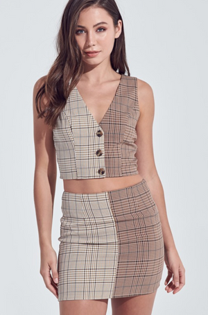 As If Brown Plaid Skirt