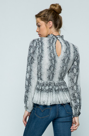EYES ON ME SNAKE PRINT TOP