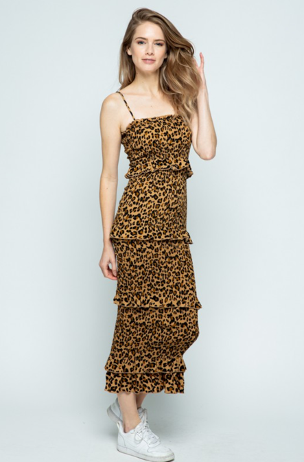 REBELLIOUS STREAK CHEETAH MIDI DRESS