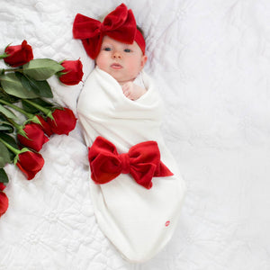 Red Velour Bow Swaddle Set