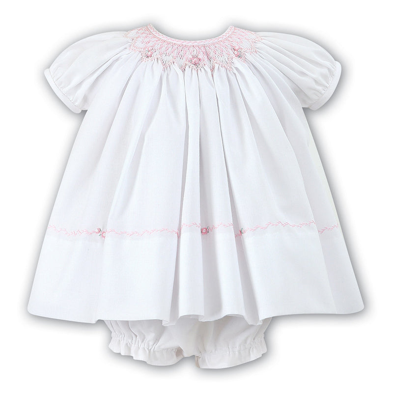 Sarah Louise White Baby Dress and Bloomer