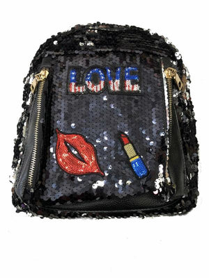 All-Over Front And Side Sequin Love Back Pack