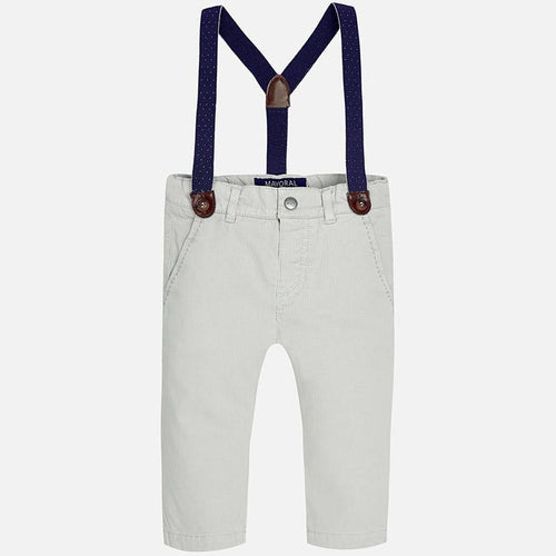 gray pants with suspenders
