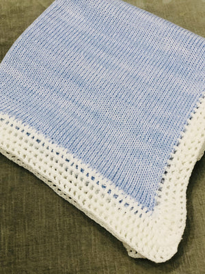 Blue and White Tweed Blanket