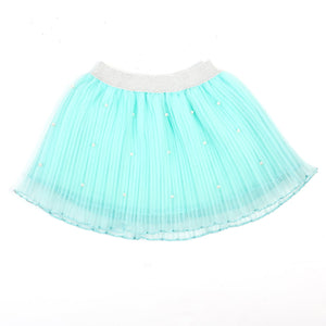 Pleated Skirt with Pearls in Mint or White
