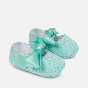 Aqua Infant Shoes Knit  Bows Ties Summer Spring Infant