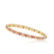 Twin Star Childrens Bangle Bracelet Gold Heart Enamel