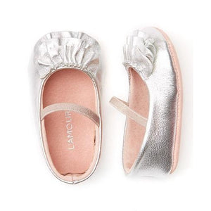 Infant Ballet Flats In Silver, Pink or White