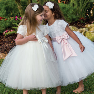 Sarah Louise Tulle Dress in White/Pink Bow