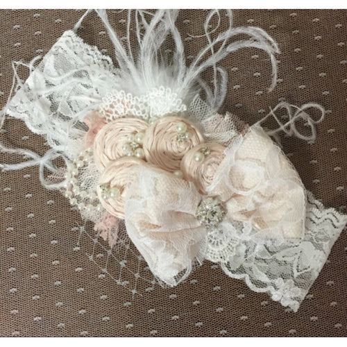 Sasha Headband in Blush Rosettes
