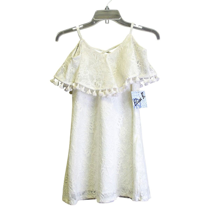 Elisa B Lace Tassel Dress tween dance cream ivory