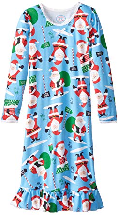 Sara's Prints Blue Santa Nightgown
