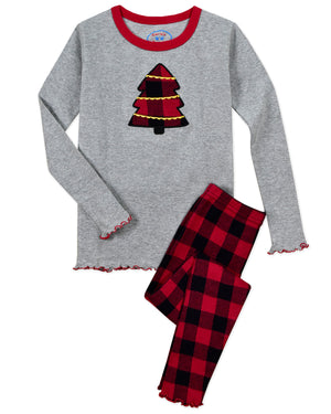 Rustic Plaid Tree Girls Pajamas