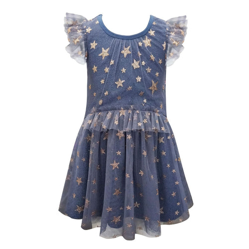 Hannah Banana Navy Glitter Star Dress