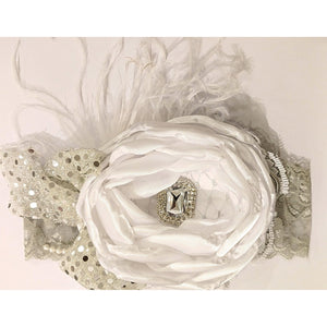 Silver White Flower Headband