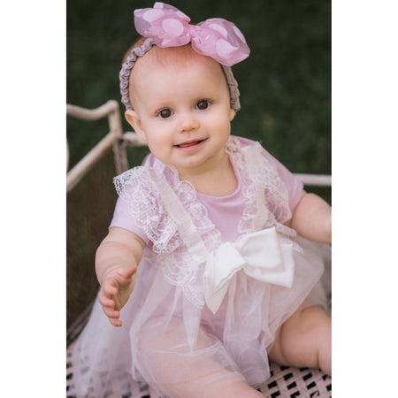 Maeli Rose Lace and Bow Onesie