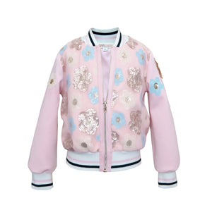 Baby Sara Sequin Flower Bomber Jacket
