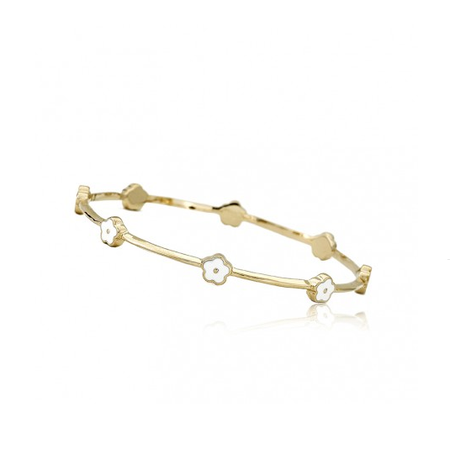 Twin Stars Dainty Flowers Bangle in White bracelet