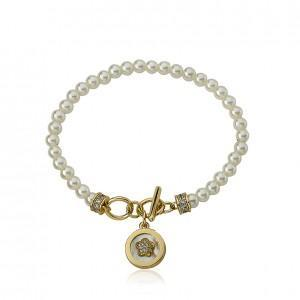 Twin Stars Pearl Bracelet with Pave Flower MOP Charm