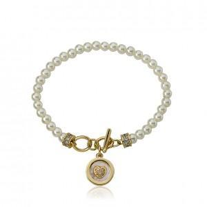 Twin Star Pearl Bracelet with MOP Enamel heart Charm