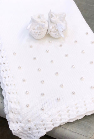 White Crochet Pearl Blanket