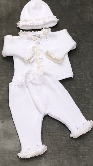 White Rosebud Crochet Set