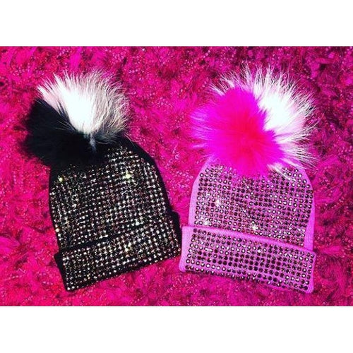 Maniere Studded Beanie With Fur Pom-Pom