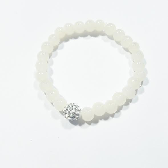 Heart Me Crystal & Ivory Beaded Communion Christening Bracelet