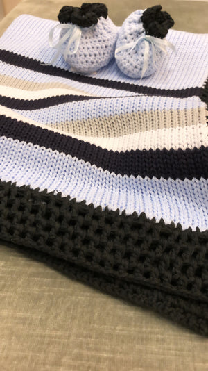 Blue Crochet Colorblock Blanket
