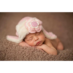 Daisy Baby Knit Aviator Flynn Hat in Pink and Navy