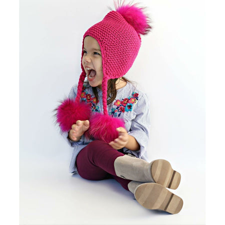 Triple Pom Braid Knit Hat