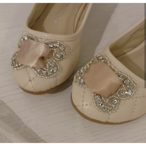 Petite Adele Satin Ribbon Flats In Ivory