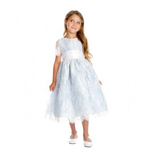 French Lace and Dupioni Blue White Ribbon Flower Girl Dress 886352e2a