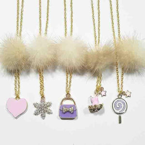 XO Heart Beige Fur Pom Necklaces