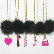 Heart Me Black Fur Pom Necklaces