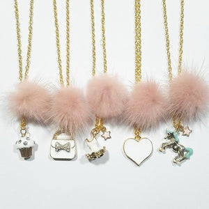 XO Heart Dusty Rose Fur Pom Necklaces