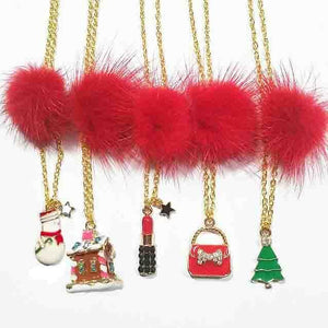 XO Heart Red Fur Pom Necklaces