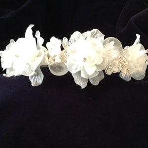 Christie Helene Floral Communion Diamond White Headpiece
