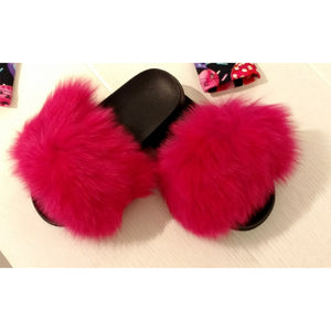 Furry Hot Pink Slides