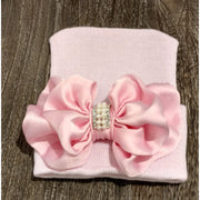 Cradle Cuties Crystal & Pearl Bow Hat - Pink Satin