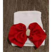 Cradle Cuties Crystal & Pearl Bow Hat - Red Satin