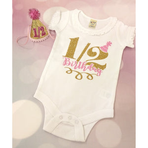 JJ Bowtique Half Birthday Onesie